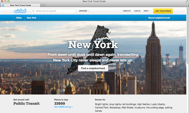 Airbnb's web site for rooms to rent in New York City.