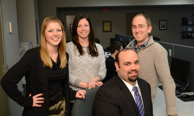 Clinic students, from left: Heather Davis, Julia Patane, Michael Bates and Nick Dorando.