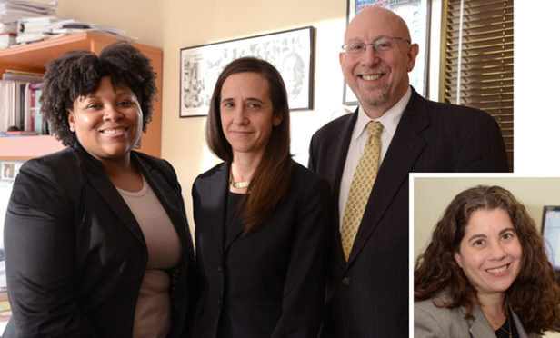 The defense team that helped exonerate Latisha Johnson and Malisha Blyden included, from the Office of the Appellate Defender, left to right, Senior Staff Attorney Kerry Jamieson, Reinvestigation Project Director Anastasia Heeger and Attorney-in-Charge Richard M. Greenberg. Inset: Claudia Trupp, of the Center for Appellate Litigation.