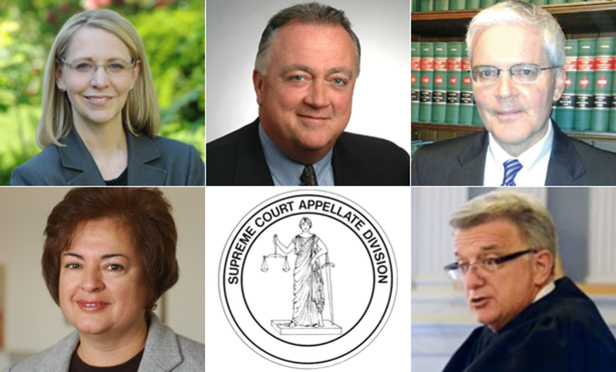 Christine Clark, Eugene Devine and Michael Lynch, top, who were appointed to the Appellate Division, Third Department; Betsy Barros, who was named to the Second Department; and Brian DeJoseph, who will join the Fourth Department.