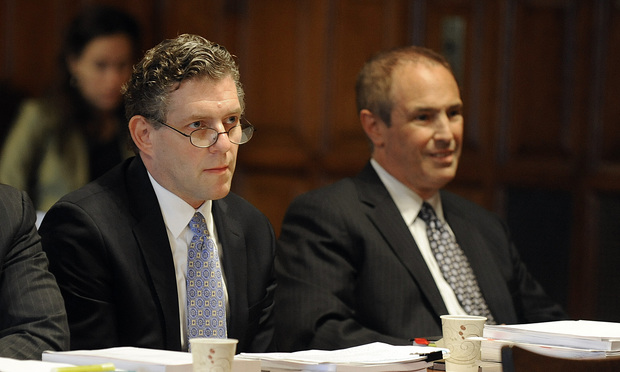 Attorneys David Adler of McCarter & English, left, and Howard Magaliff, of Magaliff Moser, argued on behalf of bankrupt firms' trustees on Wednesday.