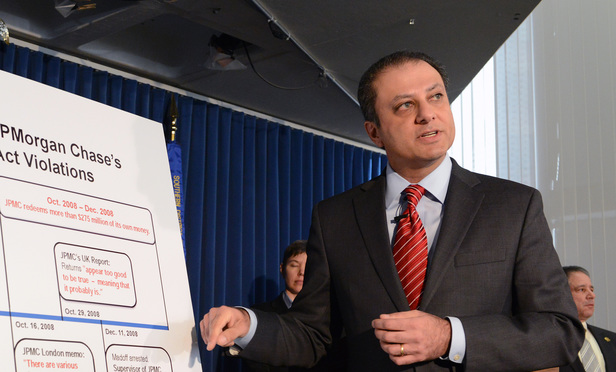 U.S. Attorney for the Southern District Preet Bharara speaks at a press conference on the JPMorgan settlement.