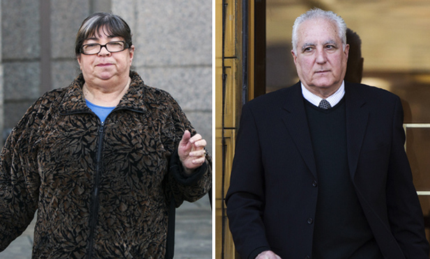 Annette Bongiorno, former aide to Bernard Madoff, and Daniel Bonventre, his former operations manager, exit the Southern District courthouse on Friday. Bongiorno and Bonventre testified for several days in their own defense, insisting they were also victims of Madoff's fraud. They were convicted by a jury yesterday.