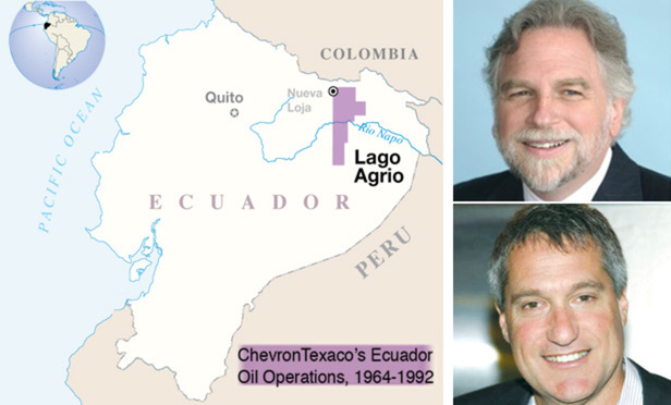 Map of ChevronTexaco's Ecuador operations, Chevron counsel Randy Mastro (top), and plaintiff's attorney Steven Donziger