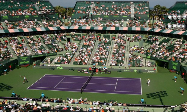 The 13,300-seat stadium court is the centerpiece of the Tennis Center at Crandon Park facility, home of the Sony Open in Miami, Florida since 1987.