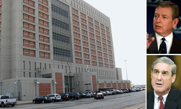 Metropolitan Detention Center in Brooklyn where Arab and Muslim men were held in a post 9/11 sweep. Plaintiffs asked the Second Circuit to reinstate claims against former U.S. Attorney General John Ashcroft (top) and former FBI Director Robert Mueller.