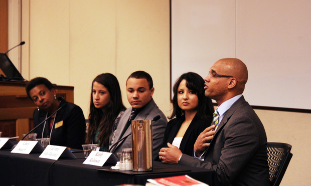 Randy Robinson, recent Denver Law graduate and Clerk to Colorado Supreme Court Justice Monica Márquez, far right, during a law school diversity pipeline conference at the University of Denver Sturm College of Law in March.