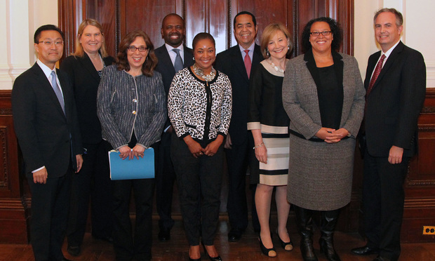 General Counsels from companies that are leaders in diversity spoke at the New York City Bar about their efforts and best practices to create a more inclusive environment. From left: Don H. Liu, Xerox; Sheila K. Davidson, New York Life Insurance Company; Gwen Marcus, Showtime; Joseph K. West, president and CEO, Minority Corporate Counsel Association (MCCA); Teresa M. Sebastian, Darden Restaurants; James T. Breedlove, Praxair Inc.; Jane C. Sherburne, Bank of New York Mellon; Kimberley Harris, NBCUniversal, and Bret Parker, executive director of the city bar.