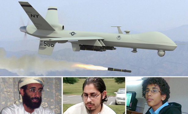 U.S. drone strikes in Yemen in September 2011 killed Anwar Al-Awlaki, below left, an al Qaida leader who had been born in the United States, and another U.S. citizen, Samir Khan, center. An October 2011 strike killed Abdulrahman al-Awlaki, al-Awlaki's teenage son, right, also a U.S. citizen.