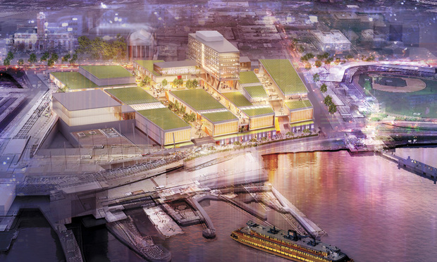 An architectural rendering of the proposed Empire Outlets, a retail complex along the North Shore of Staten Island's waterfront.