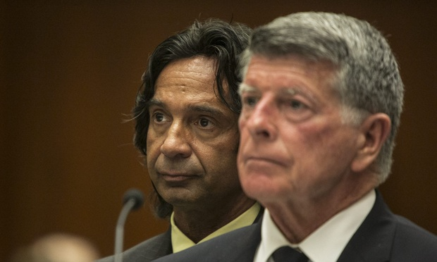Joseph Cavallo, left, with attorney John Barnett during his arraignment in Los Angeles.