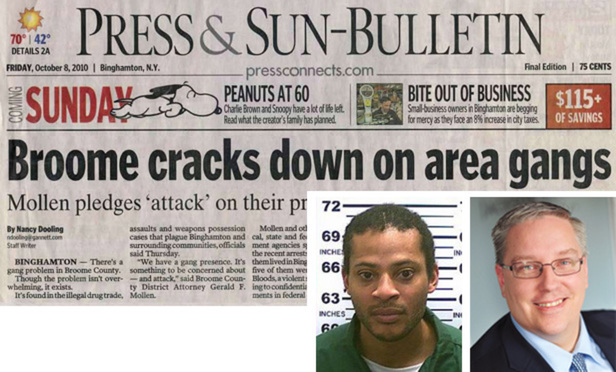 The Binghamton Press & Sun-Bulletin has been accused of defamation by Derek Heyliger, whose arrest photo is inset left, for a series of articles in 2010 on gang violence. Inset right is attorney Thomas Jackson, who prosecuted Heyliger and has been disqualified from representing the paper.