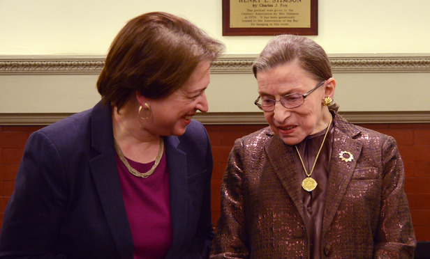 U.S. Supreme Justice Elena Kagan chats with her colleague Ruth Bader Ginsburg before the annual Ruth Bader Ginsburg Distinguished Lecture on Women and the Law Monday at the New York City Bar. Kagan was the guest lecturer.