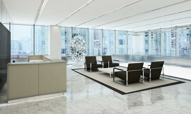 An artistic rendering of the reception area of the new Kaye Scholer office.