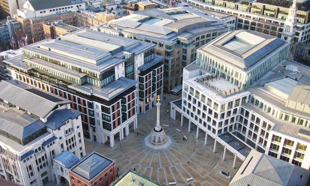 An aerial view of the London Stock Exchange, located in Paternoster Square, London, England.