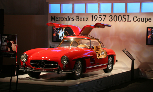 The Mercedes-Benz 1957 300SL Coupe Gullwing is the type of car at issue in the Soghanalian case.