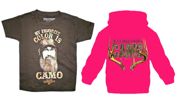 "A Florida clothing company is suing the ""Duck Dynasty"" producers at A&E Television Networks, claiming patent infringement on a ""camo"" couture tagline. At left, is My Favorite Color is Camo from Duck Dynasty. Right, My Favorite Color's Camo by Florida company."