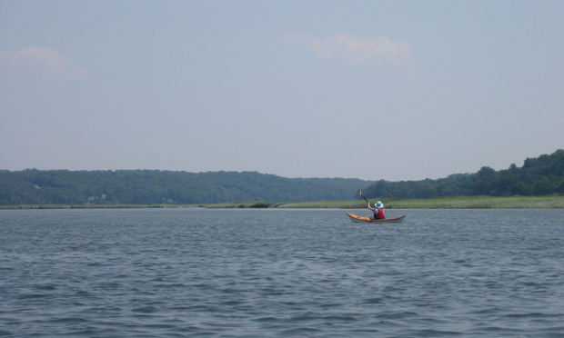 A kayaker on the Nissequogue River