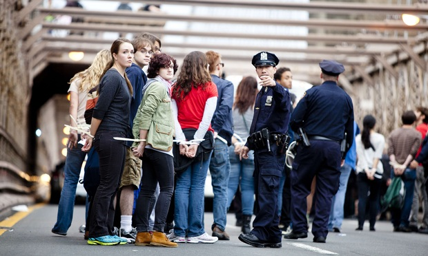 Occupy Wall Street protesters arrested for attempting to march across the Brooklyn Bridge on Oct. 1, 2011.