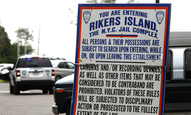 The entrance to the Rikers Island Correctional Department facility, where a judge says the city should do more for the mentally ill.