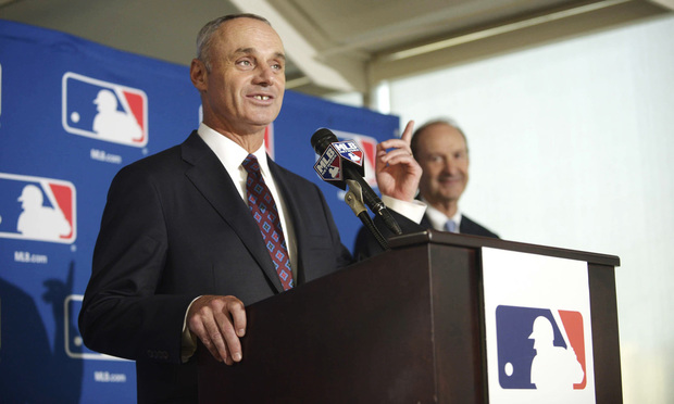 Rob Manfred, chosen to be the next MLB commissioner, speaks at the owners' meeting at the Hyatt Regency in Baltimore on Thursday, Aug. 14, 2014.