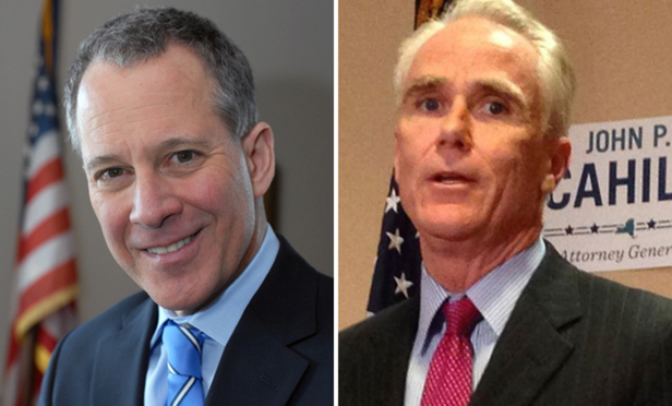 Eric Schneiderman, left, and John Cahill