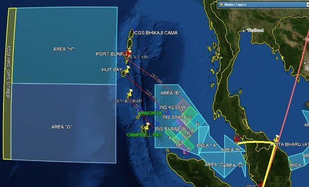 India's search areas for Malaysia Airlines Flight 370