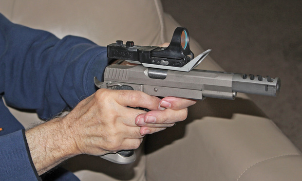 A 9mm Smith & Wesson handgun.