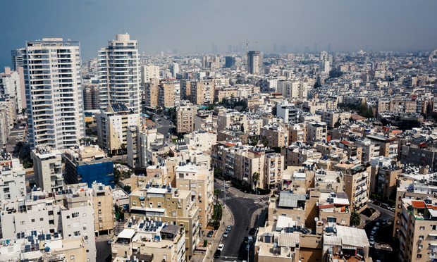 An aerial view of downtown Tel Aviv, Israel.