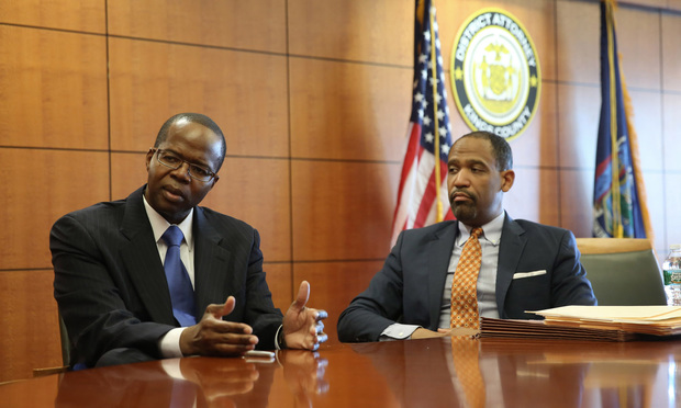 Kings County District Attorney Kenneth P. Thompson, left, recruited Ronald Sullivan from Harvard Law to guide a new Conviction Review Unit that has been sifting through reports of wrongful convictions at a fast clip.