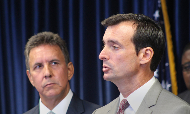 Wifredo A. Ferrer, U.S. Attorney for the Southern District of Florida, right, speaks at press conference with DEA Special Agent in Charge, Mark R. Trouville.