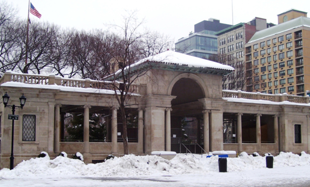 The pavilion at the north end of Union Square Park