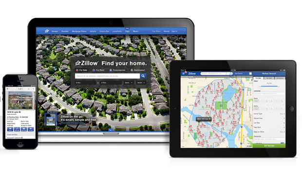 Zillow's app for tablets and smartphones.