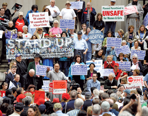 Demonstrators at a Stand Up for Religious Freedom rally