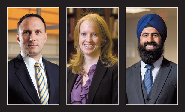 "May it please the court: Jonathan Cohn of Sidley Austin, Erin Murphy of Bancroft and Tejinder Singh of Goldstein & Russell, left to right, argued their first cases in the high court. Tom Goldstein called the term a ""breakout year"" for a new generation of lawyers."