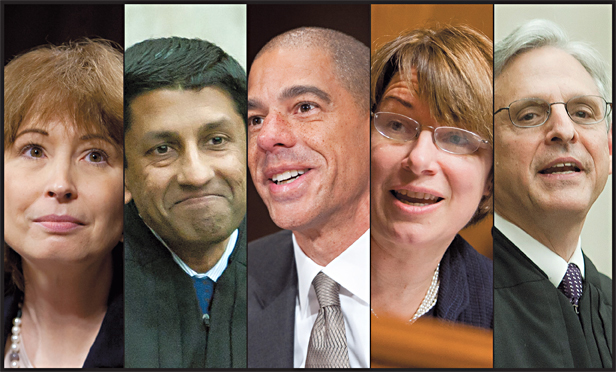 (L-R) Patricia Millett, Sri Srinivasan, Paul Watford, Amy Klobuchar, and Merrick Garland.