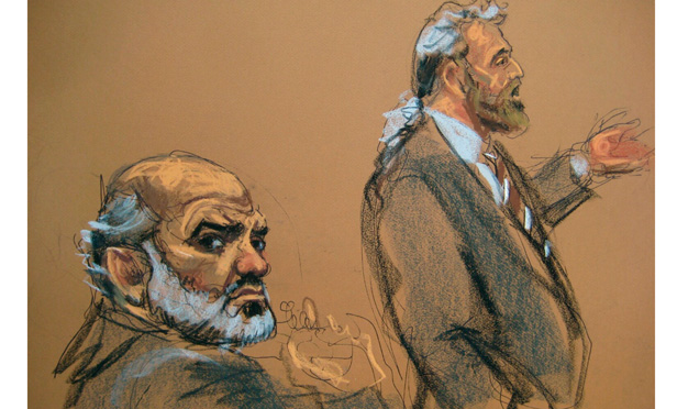Courtroom sketch of Sulaiman Abu Ghayth and defense attorney Stanley Cohen
