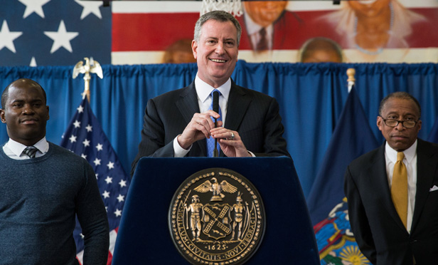 Plaintiff Nicholas Peart, Mayor Bill de Blasio and Corporation Counsel Zachary Carter