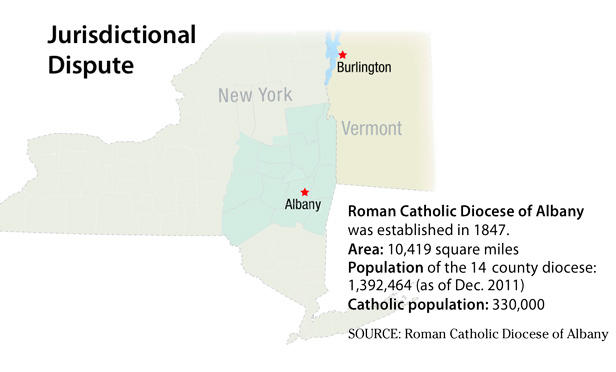 Map of Albany diocese and distance to Vermont federal court in Burlington