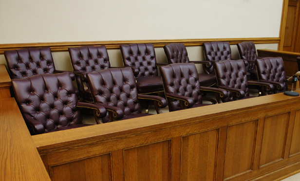 an empty jury box